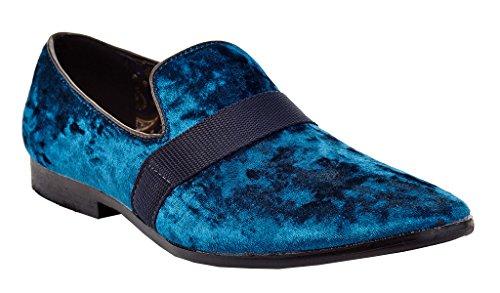 Franco Vanucci Mens Loafer Velvet Slip-On Smoking Slippers Embroidered Night Club Dress Shoe Blue-3 Uj1t5dp