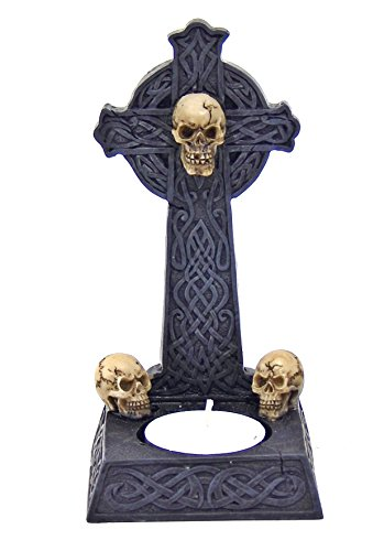 (Bellaa 26669 Celtic Cross Irish Skull Votive Tlight Candle Holder )