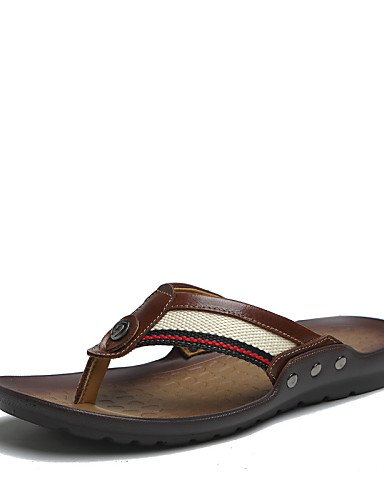 NTX/ Men's Shoes Outdoor / Casual Nappa Leather / Fabric Sandals / Flip-Flops Black / Brown / Orange black-us8.5-9 / eu41 / uk7.5-8 / cn42 3O23bF
