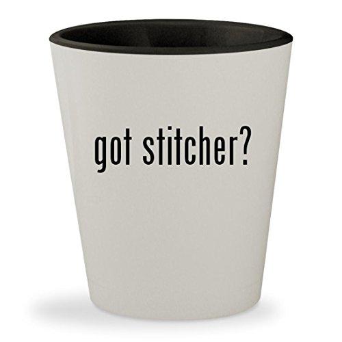got stitcher? - White Outer & Black Inner Ceramic 1.5oz Shot Glass