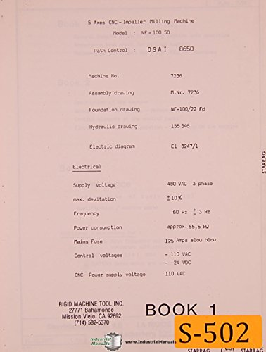 Starrag AG, NF-100 50 Machine Denter, Impeller Milling, Operations and Parts Manual