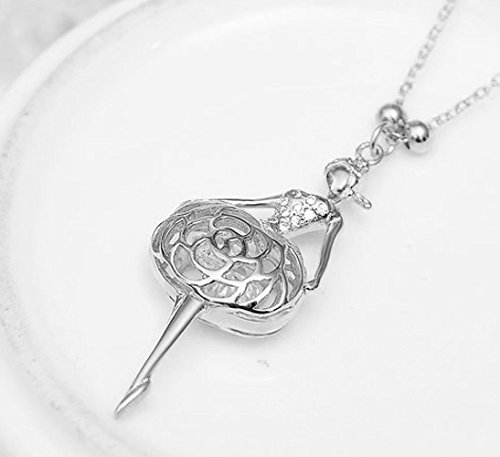 Sojewe Women 925 Sterling Silver Ballet Dance Necklace Pendant Inlay Cubic Zirconia Rhodium Plating Chain 40-45cm//15.7-17.7in