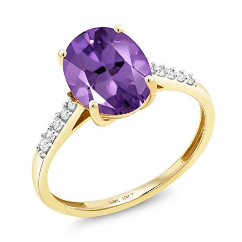 Gem Stone King 10K Yellow Gold 2.32 Ct Oval Purple Amethyst White Diamond Ring (Size 9) -