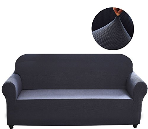 Covers 1-Piece Polyester Spandex Fabric Living Room Couch Slipcovers (XL Sofa, Dark Gray) (Back 3 Three Seat Sofa)