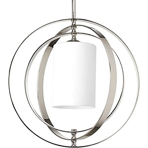 Progress Lighting Equinox Medium Foyer Chandelier Light with Etched Opal Glass Shade, Polished Nickel, Item - Etched Opal Glass Shade