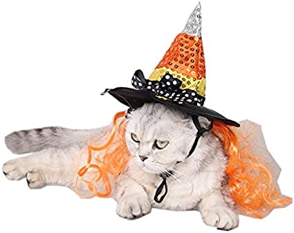 Dog Cat Halloween Costume Witch Wizard Hat Cap Headwear for Cats Small Dogs