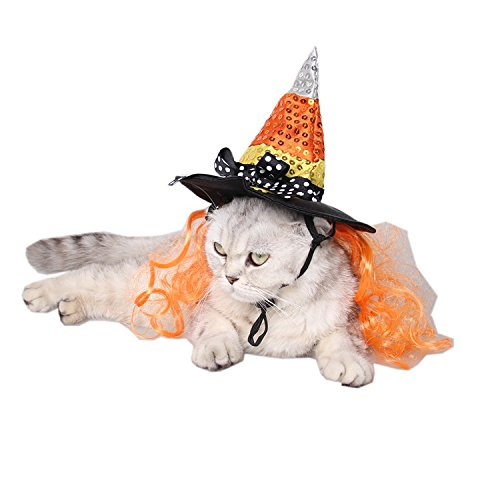 Ollypet Dog Cat Halloween Costume Wizars Hat for Pet Outfir for Small Dogs Cute Fleece Hat Party Event Apparel Funny…