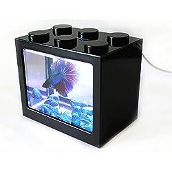 AquaticHI Nano Tank, Extra Small, Mini Desktop Aquarium / Fish Tank / Terrarium, Perfect for the Kids, Office or Home for Small Betta Fish, Shrimp, Insects and Succulents (Black)