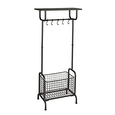 Southern Enterprises Reiser Entryway Storage Rack Hall Tree, Rustic Brown Finish - Durable hall tree features five mobile, ball-tipped hooks, one shelf, and one removable basket for convenience and easy access Slim profile and reclaimed look updates any dressing room, bedroom, or entryway Rustic brown finish combines with an all metal construction for farmhouse inspired industrial style - hall-trees, entryway-furniture-decor, entryway-laundry-room - 41H1dOF8W5L. SS400  -