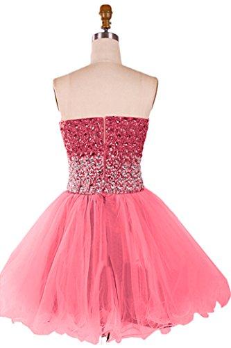 Gorgeous Bride Zaertlich Traegerlos Mini A-Linie Satin Tuell Kristall Abendkleid Promkleid Abendmode