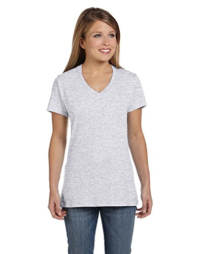 Hanes Women's Nano- V-Neck T-Shirt Ash Large