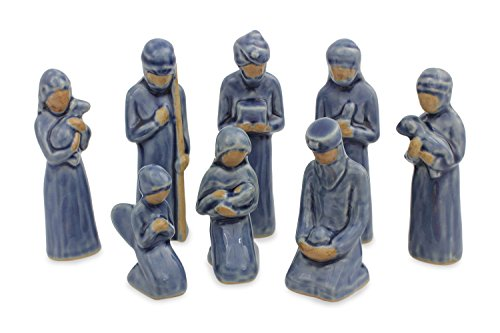 NOVICA ''Thai Holy Birth In Blue'' Celadon Ceramic Nativity Scene Figurine, Set Of 8 by NOVICA