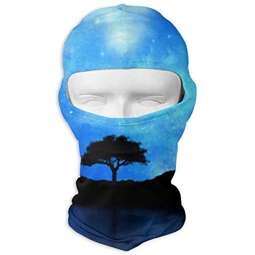 HWOOPQ Tree Silhouetted Against Starry Night Full Face Mask Hood Unisex Balaclavas Head ()