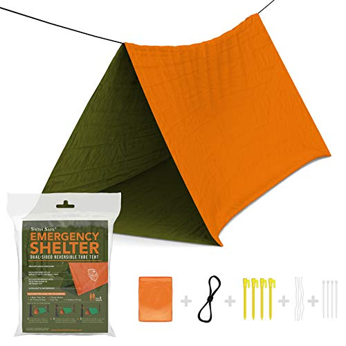 Emergency Shelter - Swiss Safe Emergency Survival Shelter Tent (Reversible Two-Sided Tent) + Paracord, Tent Spikes, Zip-Ties: 100% Waterproof, Ultralight and Extra Large