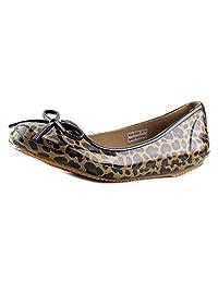 Totes Women's Leopard Print Waterproof Slip On Flat Rain Shoes