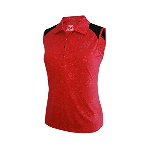 (Monterey Club Ladies Dry Swing Bold Flower Emboss Contrast Sleeveless Shirt #2447 (Lipstick Red/Black, Medium))