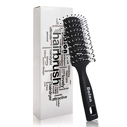 Vent Hair Brush,11 Row Vented Hairbrush for Men and Women, Vent Brushes With Ball Tipped Bristles for Wet Short Curly Straight Hair Blow Drying Quickly(Black)