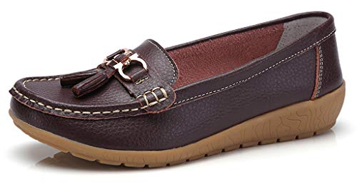 labato Women's Leather Loafers Breathable Slip on Driving Shoes Casual Comfort Walking Flat Shoes (Comfort Flat Shoes)