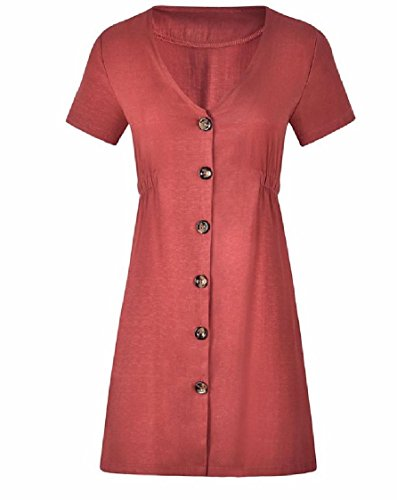 Solido Di Vestito A Tasto Sottile Colore Linea Pattern4 Una Scollo V Corta donne Manica Coolred qwxI0OXx