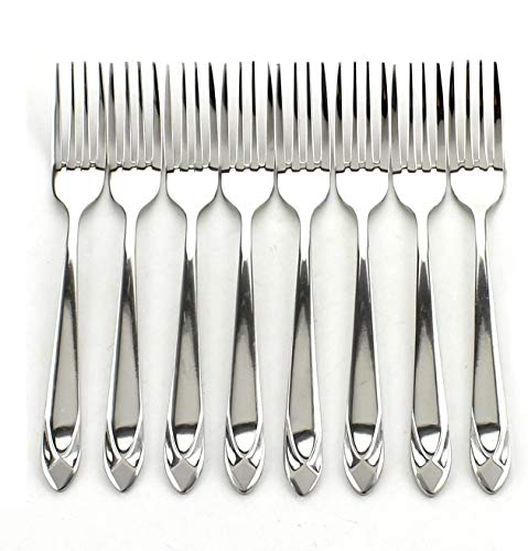 Z ZICOME Stainless Steel Forks Heavy Duty Flatware Forks Set, Diamond Pattern, 8 Pcs