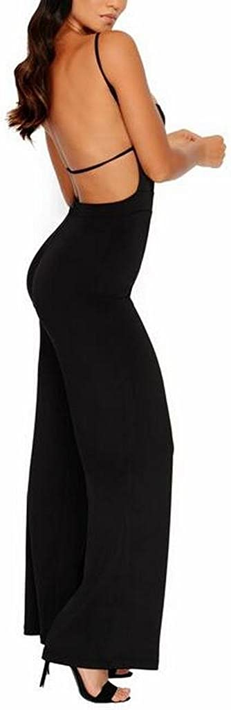 OTW Womens Stylish Spaghetti Strap Backless Solid Wide Leg Romper Jumpsuits