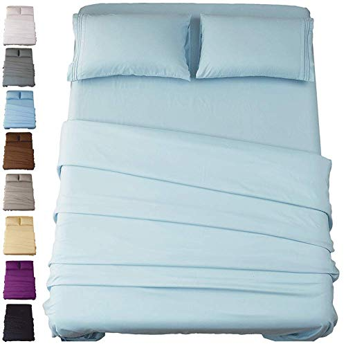 SONORO KATE Bed Sheet Set Super Soft Microfiber 1800 Thread Count Luxury Egyptian Sheets 16-Inch Deep Pocket,Wrinkle and Hypoallergenic-4 Piece (Spa Blue, Queen)