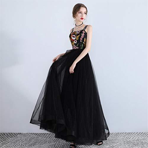 ELEGENCE-Z Evening Dress, Black Sexy Chiffon Sleeveless Embroidery Dinner Princess Birthday Party Red Carpet Evening Dress