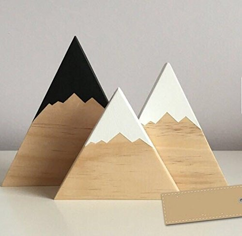 Gold Happy Nordic Top Woodland Wood Mountain Decorative Handmade Kids Bookends Home Decor Wooden Mountain Children's Room Decoration Blocks by Gold Happy (Image #3)