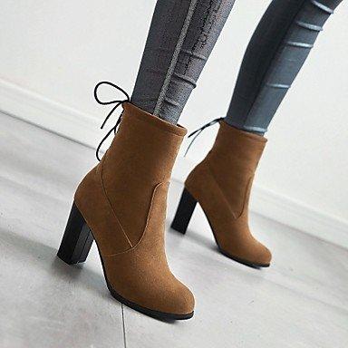 DESY Mujer Zapatos Semicuero Otoño Invierno Botas de Moda Botas Tacón Robusto Dedo redondo Botines/Hasta el Tobillo Con Cordón Para Casual gray