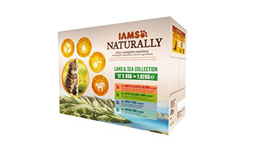 IAMS Naturally Katzenfutter Nass in Sauce, hochwertiges Nassfutter mit Fisch / Fleisch für erwachsene oder Senior Katzen…
