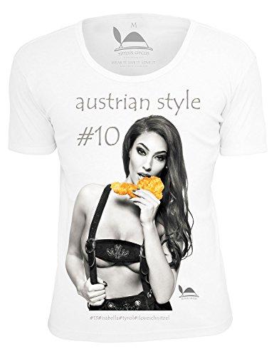 simsis circus Austrian Style #10 Isabella Herren T-Shirt Regular Fit Weiß Oktoberfest