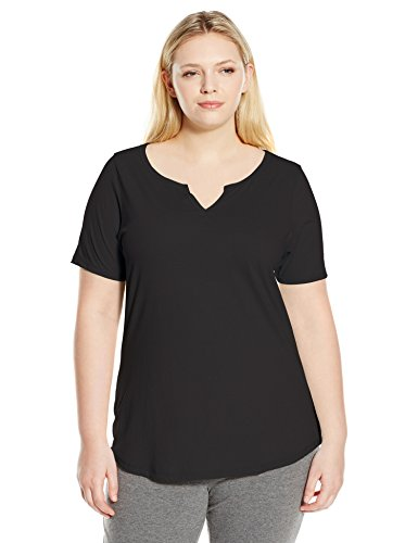 Plus-Size Solid Split Neck Shirttail Hem Tee, Ebony, 3X (Shirttail Hem)