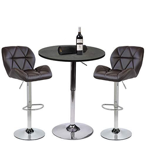 PULUOMIS Set of 3 Black Bar Table, with 2 Brown Contemporary Chrome Air Lift Barstool Leather Padded Adjustable Swivel Stools (Barstools Round)