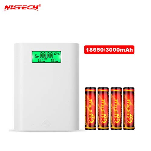 NKTECH E3s LCD External Power Bank Battery Charger Box for Huawei iPhone Samsung Sony HTC Android Cell Phone and 4Pcs TrustFire 18650 3000mAh Battery