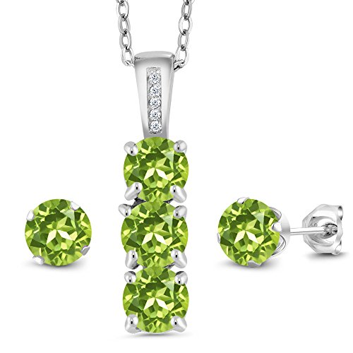 Gem Stone King Sterling Silver Green Peridot and White Diamond Pendant Earrings Set 2.54 Ct Round Cut Gemstone Birthstone with 18 Inch Silver Chain