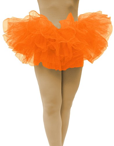 Dancina Orange Tutu Skirt for Women Teens Party Ruffle Sexy Mini Tutu Short (Tutu Sexy)