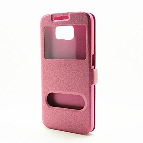 Carcasas y fundas Móviles, Para Samsung Galaxy S6, color sólido PU cuero con soporte doble ventana abierta patrón de seda funda protectora para Samsung Galaxy S6 (responder o rechazar llamadas sin abr Pink