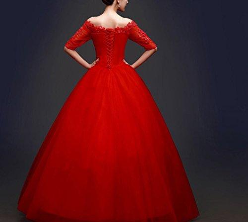 Ein Rote Schulter Größe Koreanische Kleid XXL Ärmel Schwanz der Wort ein Hochzeit Heiraten in Braut Große DHG Sommer wtHSa1