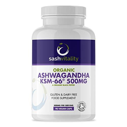 Organic Ashwaghanda 500mg KSM66 Vegan Capsules   Premium 500mg Ashwangandha   Ayurveda Herbal Supplement   Soil Association Certified Organic & Vegan Certified   UK Made Sash Vitality