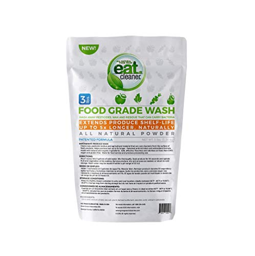eatCleaner Mega Fruit and Veggie Wash Super Concentrated Powder, Produce Wash, Produce Cleaner, Cleans Up to 4000 Lbs of Produce, Patented, Vegan, Non-GMO, Made in The USA - 3 LB Bag