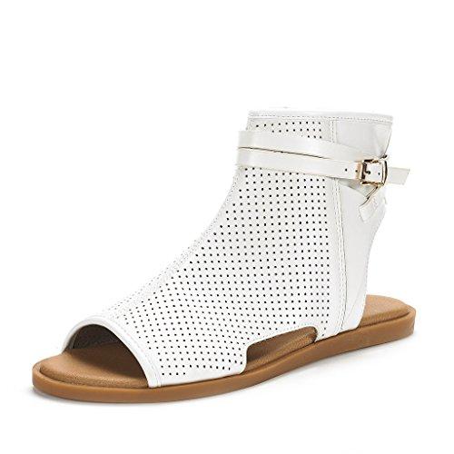 DREAM PAIRS Women's RUULE White Pu Open Toe Flat Sandals - 5.5 M US