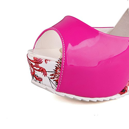 AmoonyFashion Womens Buckle Peep Toe High Heels Solid Sandals Red WINtzBdKZF