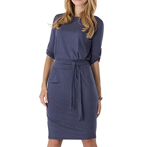 - Tueenhuge Women 3/4 Sleeve Knee Length Pencil Dress Loose Frock Dress, Small, Deep Blue
