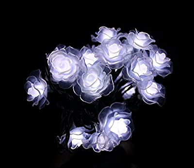 Elobeth 20 LED Solar Powered LED Christmas String Lights Rose Party Decoration