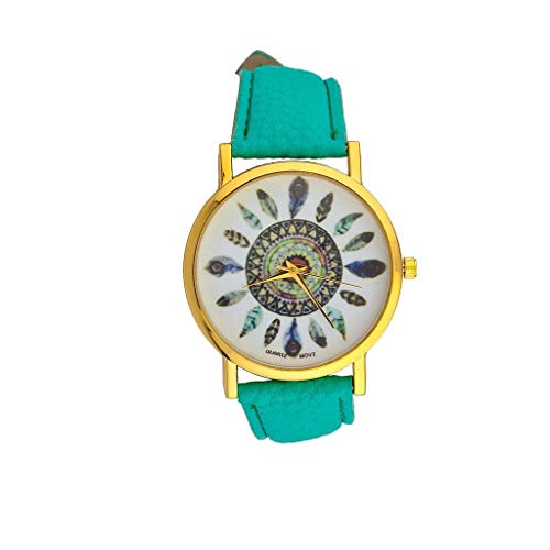 Lux Accessories Turquoise Tribal Dreamcatcher Leaf Feather Bracelet Analog Sports Quartz Wrist Watch from Lux Accessories