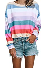 Women Long Sleeve Tops - Oversized Rainbow Striped Tunics Blouses T Shirt Pullover SweatshirtStyle: CutePattern: Color BlockSleeve Length: Long SleevesSize Type: RegularDecoration: Colorful StripedPackage Contents: 1 X TopCategory: Swe...