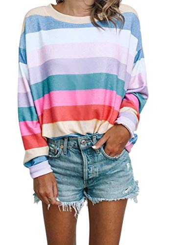 Women Long Sleeve Tops - Oversized Rainbow Striped Tunics Blouses T Shirt Pullover Sweatshirt S