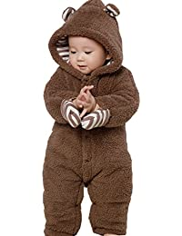Infant Winter Snowsuit Baby Bear Outfit Footed Onesie Hooded Outerwear Coat With Ears and Mitten