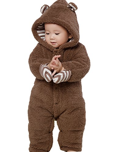 (Kidsform Infant Winter Snowsuit Baby Bear Hoodie Romper Outfit Fleece Bunting Pram Suit Outerwear Coat Coveralls 0-24M Brown 9-12M )
