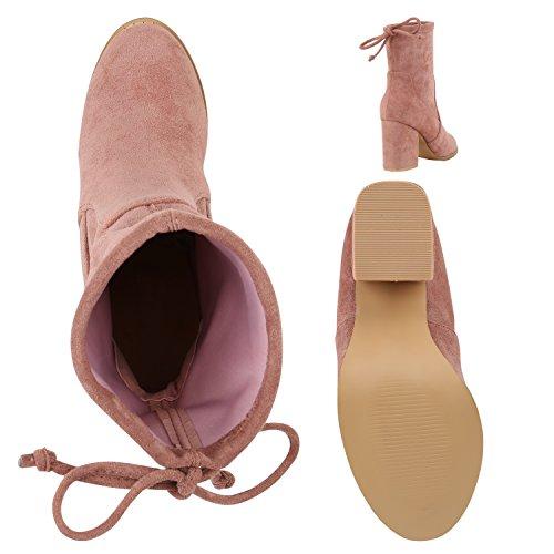 Stiefelparadies Klassische Stiefeletten Damen Durchsichtiger Block Absatz Lack Flandell Rosa Schleifen